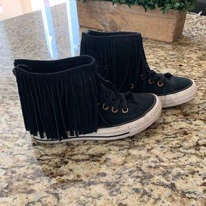 Converse black suede hi top. Size 5.